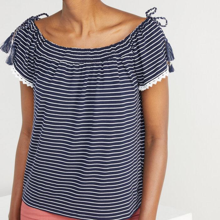 T-shirt manches courtes femme bleu marine
