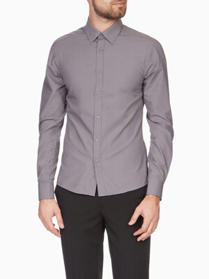 Chemise droite unie manches longues gris homme