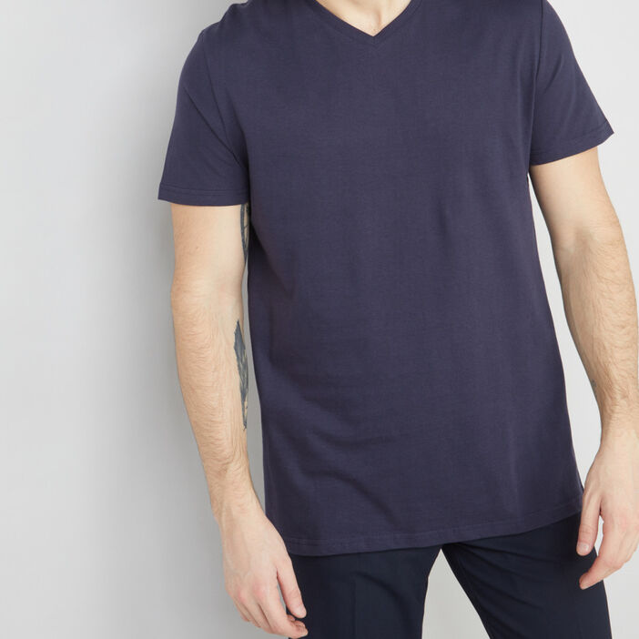 T-shirt col V en coton homme bleu marine