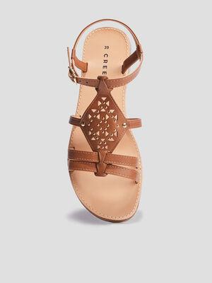 Sandales plates Creeks marron femme