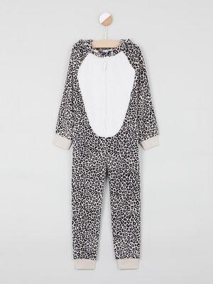 Pyjama combinaison imprime a capuche beige fille