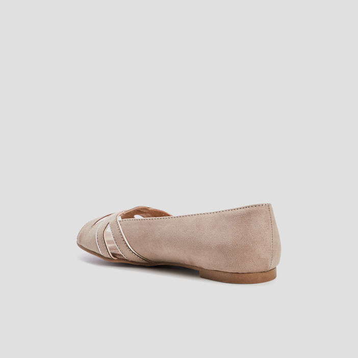 Ballerines à bouts ouverts femme taupe