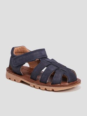 Sandales crantees en cuir bleu garcon