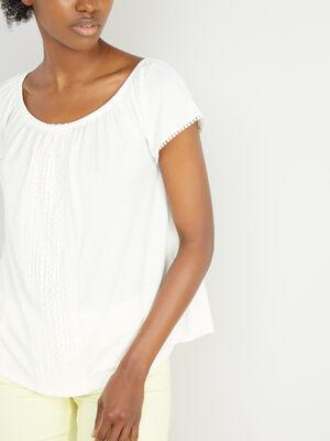 T shirt uni texture avec dentelle ecru femme