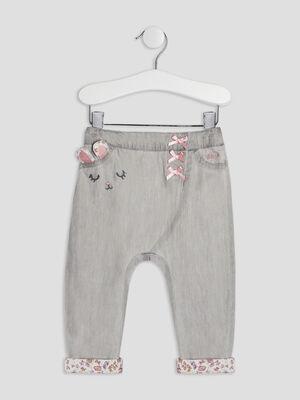 Jeans droit elastique gris bebef