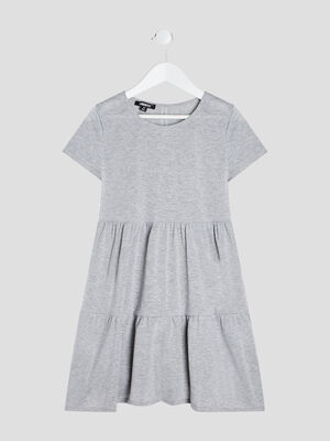 Robe patineuse a volants gris fille