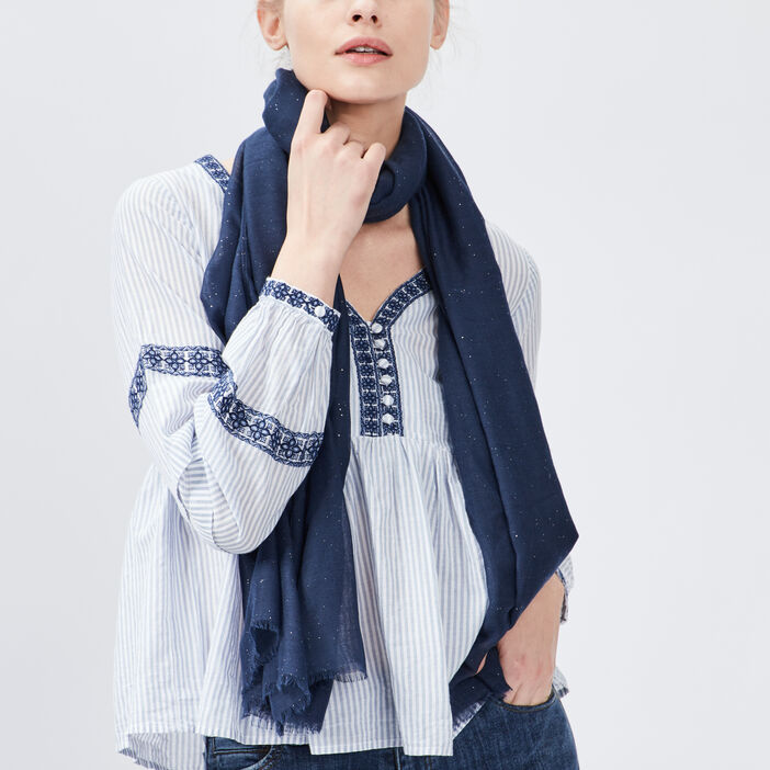 Foulard avec strass femme bleu marine