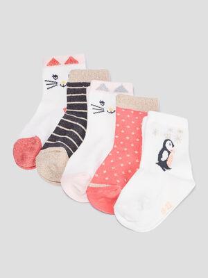 Lot 5 paires chaussettes multicolore mixte