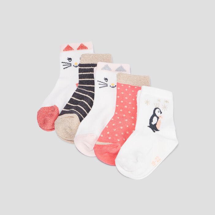 Lot 5 paires chaussettes mixte multicolore