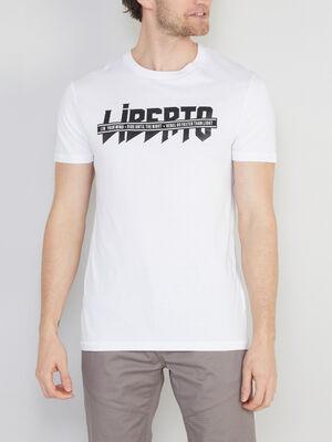 T shirt col rond en coton blanc homme