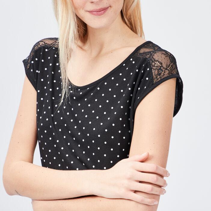 T-shirt de nuit à dentelle femme noir