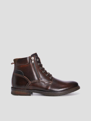 Bottines en cuir fourrees marron homme