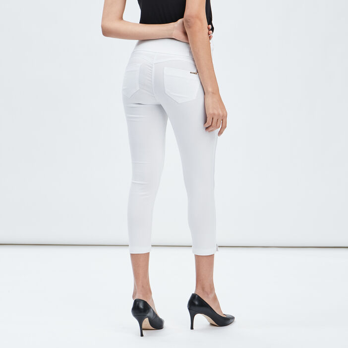 Pantacourt skinny taille haute femme ecru