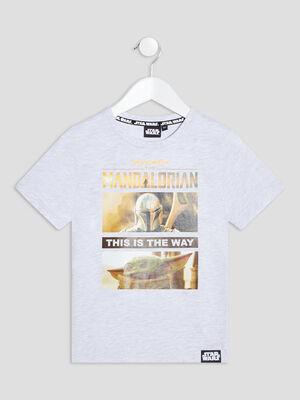 T shirt The Mandalorian gris clair garcon