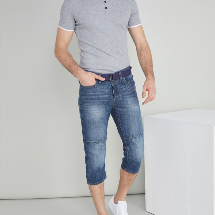 Pantacourt jean et ceinture textile homme denim stone