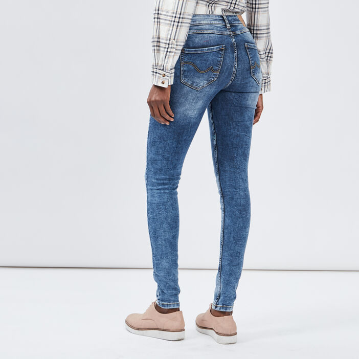 Jeans slim délavé Creeks femme denim double stone