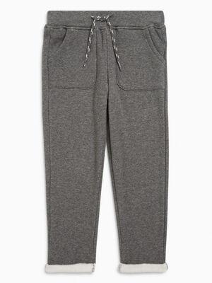 Pantalon jogging uni avec lacet gris garcon