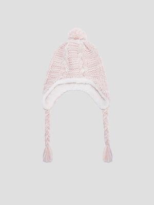 Bonnet peruvien avec pompon rose fille