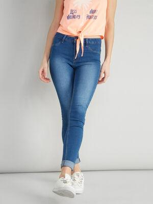 Jean skinny 5 poches uni denim stone femme