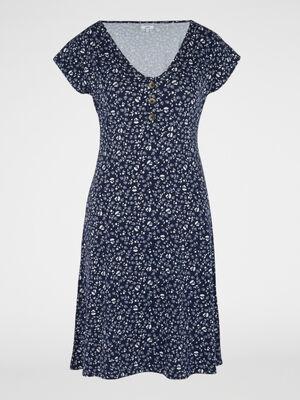 Robe evasee manches courtes bleu marine femme