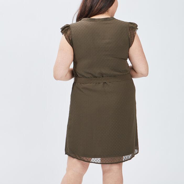 Robe droite ceinturée femme grande taille vert kaki
