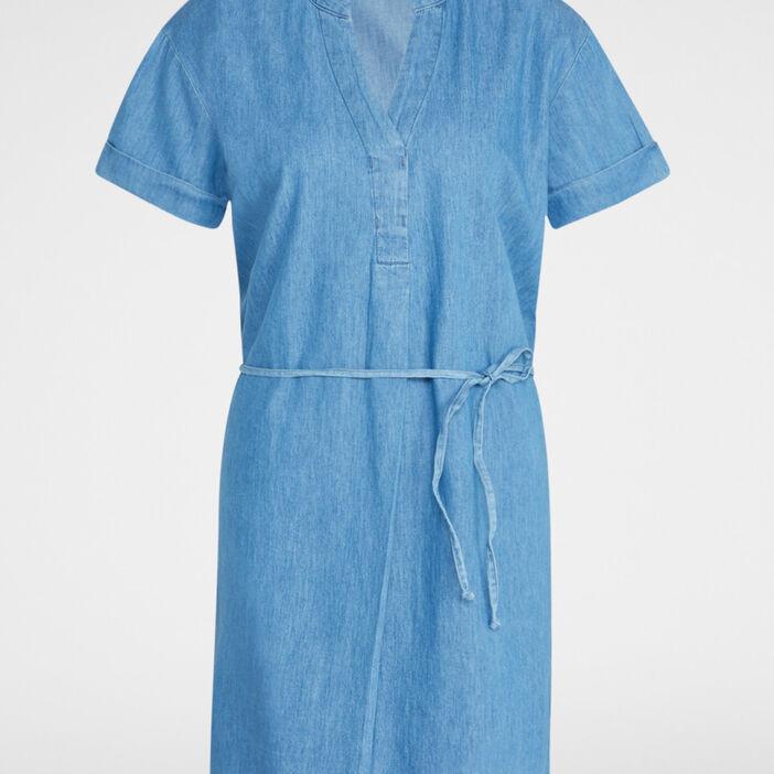 Robe droite ceinturée col tunisien femme denim stone