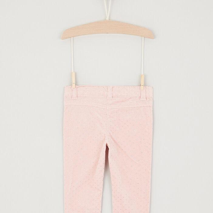 Pantalon slim coton majoritaire fille rose clair