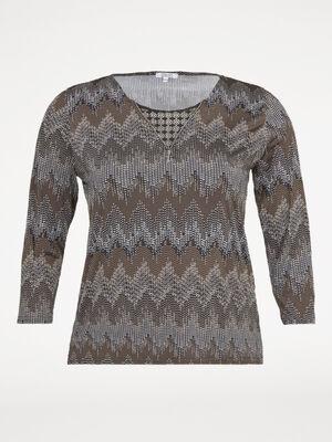 T shirt bimatiere motif zigzags vert kaki femme