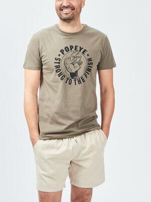 T shirt manches courtes Popeye vert kaki homme