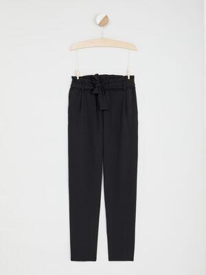 Pantalon droit fluide ceinture noir fille