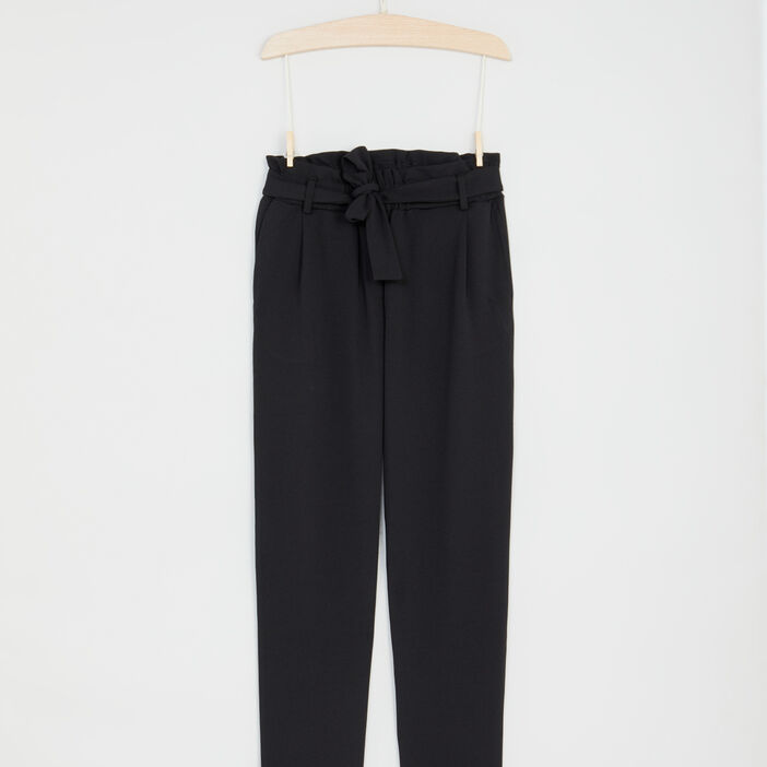 Pantalon droit fluide ceinturé fille noir