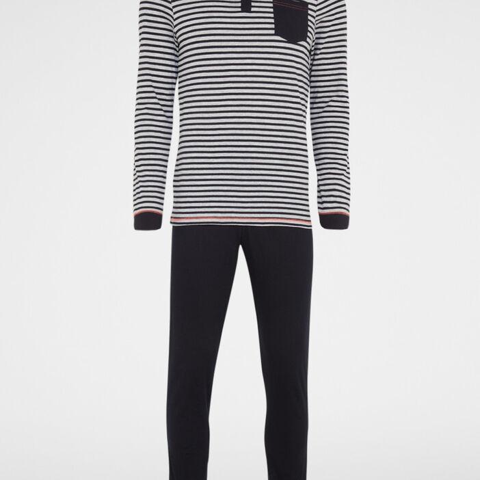 Pyjama deux pièces pantalon imprimé homme noir