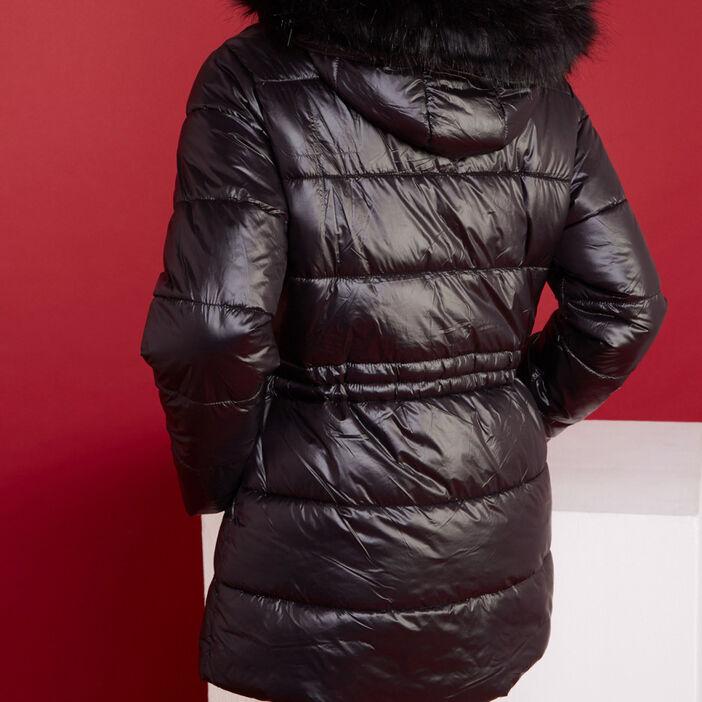 Doudoune unie cintrée à capuche femme noir
