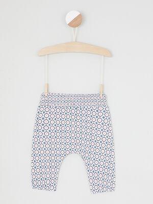 Pantalon imprime taille extensible blanc fille