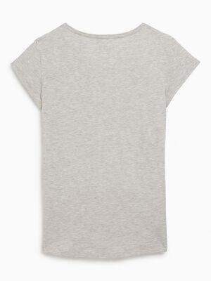 T shirt uni en coton gris fille