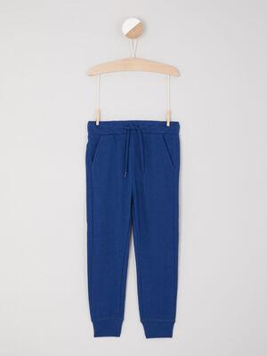 Jogging uni poches italiennes bleu roi garcon