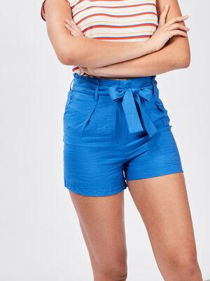 Short paperbag fluide bleu roi femme