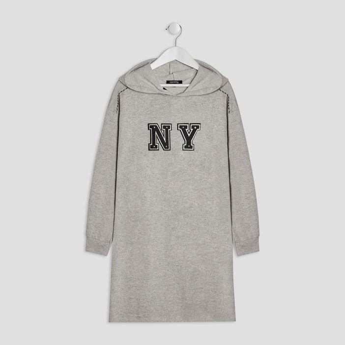 Robe droite à capuche Liberto fille gris