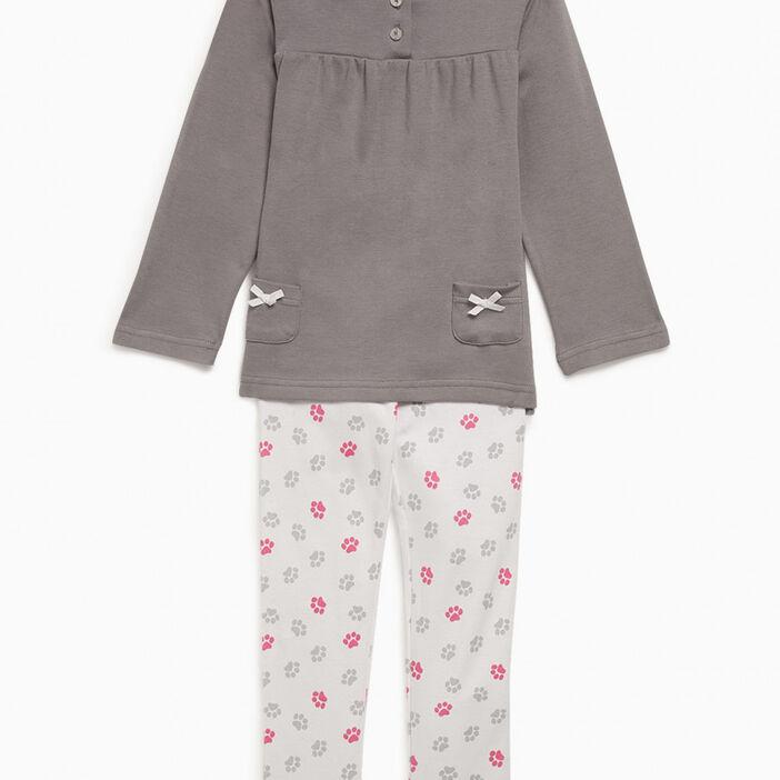 Pyjama débardeur imprimé fille gris