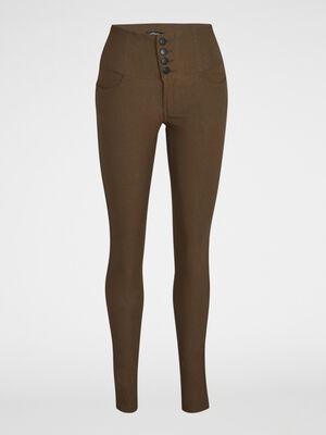 Pantalon slim taille haute vert kaki femme