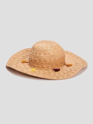 Chapeau tresse a pampilles beige femme