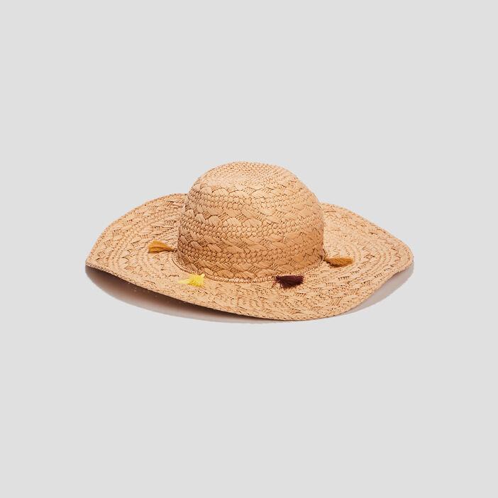 Chapeau tressé à pampilles femme beige
