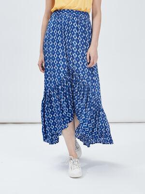 Jupe longue evasee asymetrique bleu femme