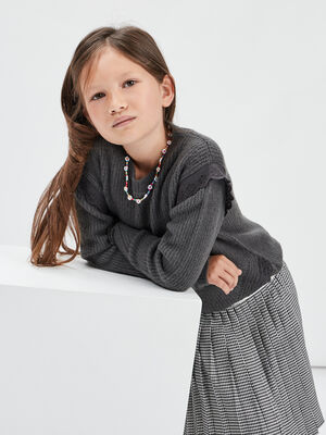 Pull avec broderie anglaise gris fonce fille