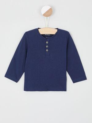 T shirt coton uni col boutonne bleu marine garcon