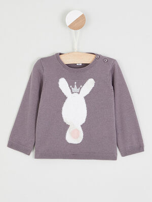 Pull col rond lapin brode taupe fille