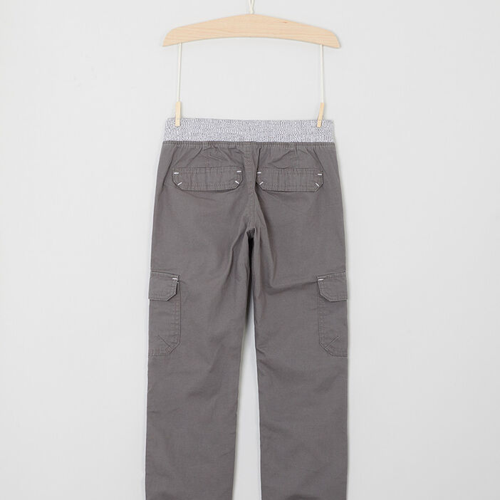 Pantalon multipoche en coton garçon gris clair