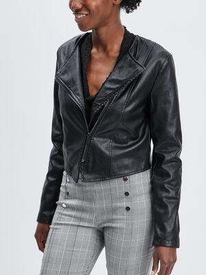 Veste style biker Mosquitos noir femme