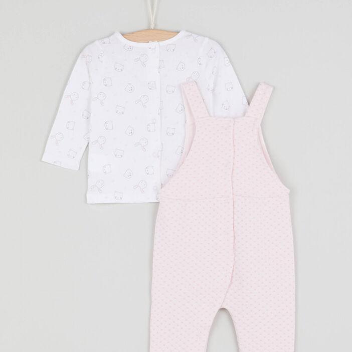Ensemble t-shirt et salopette bébé fille rose clair