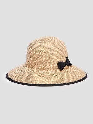 Chapeau en paille noir mixte